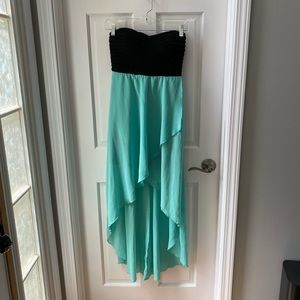 Strapless Black and Teal High Low Dress